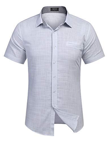 Burlady Herren Hemd Kurzarm Langarm Leinenhemd aus Baumwollmischung Kariert Sommer Freizeit Men´s Shirt (M, Hell Grau)