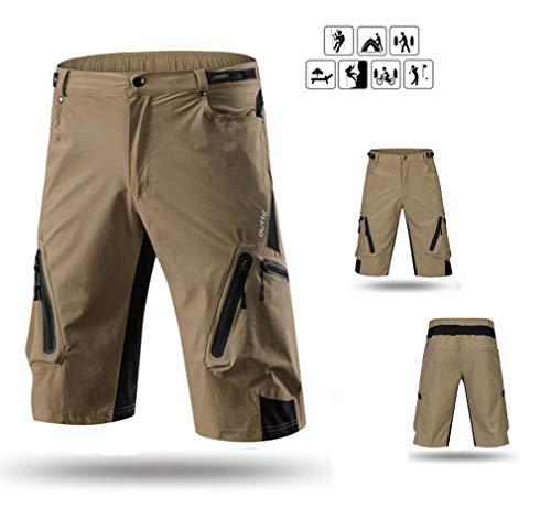 DUBAOBAO Heren fietsbroek, lichtgewicht ademende MTB-shorts en loose fit mountainbike shorts voor outdoor fietsen, bergbeklimmen, wandelen, langlaufen, buitensporten