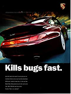 """Magazine Print Ad: 1996 Porsche 911 Turbo, 400 hp,""""Kills Bugs Fast. Seriously Bad News for the Insect World"""""""
