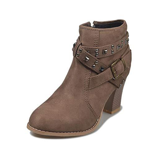 Knöchelstiefel für Frauen Vintage Frauen High Heels Ankle Boots Chunky Heel Schnalle Gummi Casual Damen Martin Boots Schuhe