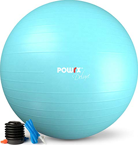 POWRX Pelota de Ejercicio 55 cm - Balón Ideal para Gimnasia, Yoga y Pilates - Anti-explosión con hinchador Incluido + PDF Workout (Turquesa)