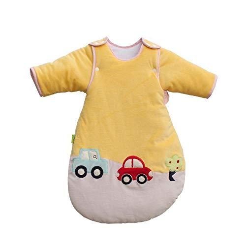 Unisex baby inbakerdekens, fluweel katoen verwijderbare anti-kick quilt-geel_110, pasgeboren baby dikke warme slaapzak