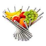 """Foldable Rotation Fruit Basket, Decorative Fruit Bowl with Unique Design, 15""""x10"""" Modern Stainless Steel Fruit Stand Storage Kitchen for Orange Banana Apple Grapes, Wrench Included"""
