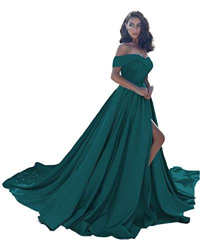 Homdor Split Off Shoulder Prom Evening Dress for Women A-Line Satin Formal Gown Teal Size 10