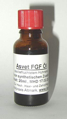 Asvet FGF Eier Öl, 20ml Egg Oil, Eieröl mit Stammzellen, Omega 3 und 6, exklusive Pflege für Haare + Haut, auch bei Pickel / Juckreiz, ohne Chemie !