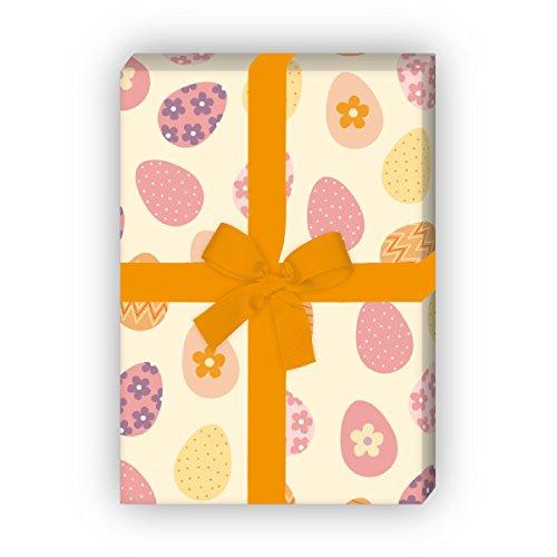 Kartenkaufrausch 4 Bögen - Kunterbuntes Oster Geschenkpapier Set mit Ostereiern für tolle Geschenk Verpackung, Musterpapier, Dekorpapier zum basteln 32 x 48cm, auf hellgelb