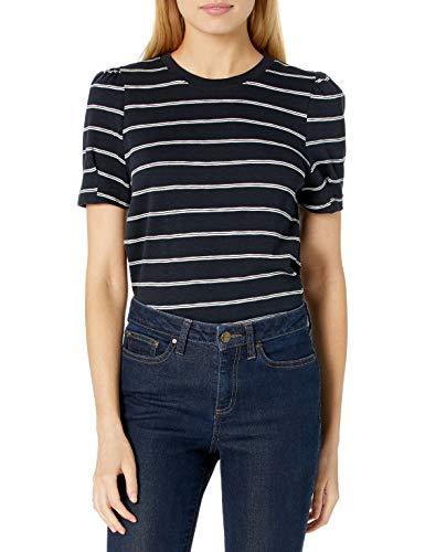 Amazon Brand - Daily Ritual Women's Cotton Modal Stretch Slub Puff Sleeve T-Shirt, Black/White Stripe
