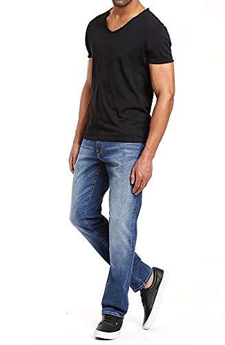 Mavi Mens Matt Relaxed Straight Leg Jeans, Mid Brushed Cashmere, 36W x 32L