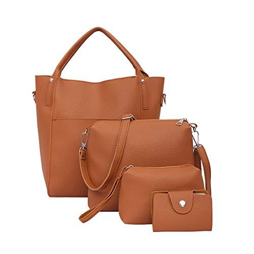 FOANA Damen Handtaschen Schultertasche Geldbörse Kartenhalter Tasche Set 4pc