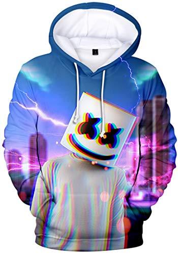 OLIPHEE Jungen Kapuzenpulli mit 3D Digital Druck für Teenager Fans DJ Sweater Blitz XS