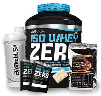 Biotech USA Iso Whey Zero (1 x 2.27 kg) + Shaker + 200 Amino Tabs 1600mg + Proben (Weiße Schokolade)