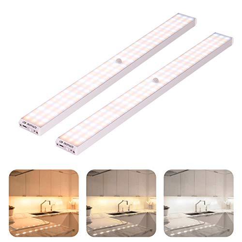 LED Schrankbeleuchtung mit Bewegungsmelder, 132er LED Nachtlicht Schranklicht, Weißes Licht/warmes Licht/natürliches Licht, für Küche, Kleiderschrank, Kofferraum, Verschiedene Räume.