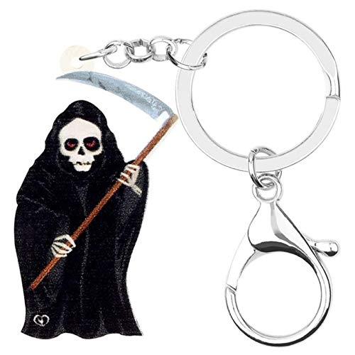 WANGGW Llavero Personalizado Anillo Acrílico Halloween Negro Grim Reaper Llaveros Pantalón Largo Llavero para Mujeres Hombres Accesorio De Billetera De Regalo Clásico