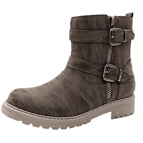 FAMILIZO Botas Mujer Invierno Retro Exfoliación De Mujer Mantener Caliente Ronda De Los Pies Zapatos De Tacón Bajo Hebilla De Correa Botas Mujer Nieve Marrón 41