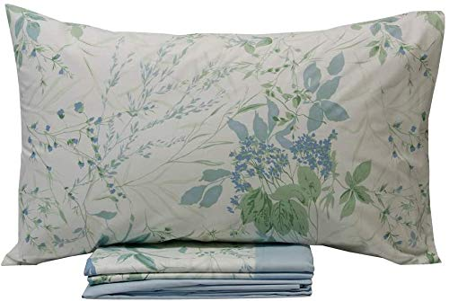 VALLESUSA - Colección Sprint - Juego de sábanas de una plaza - Estampado en Madapolam de puro algodón 100% - Sensitive (azul)