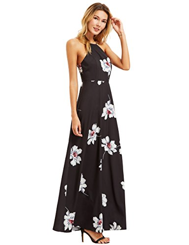 Floerns Women's Floral Print Halter Neck Backless Chiffon Maxi Dress Black XL