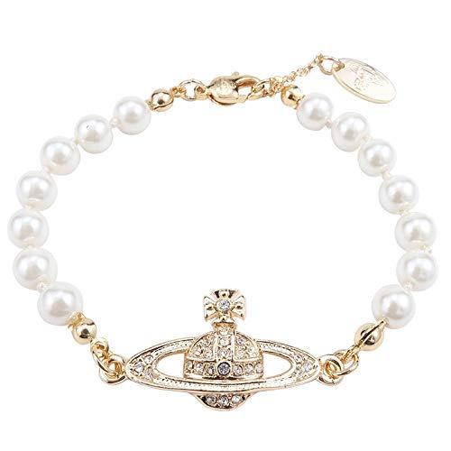 BJSFXDKJYXGS White Pearl Bracelet Crystal Rhinestone Planet Necklace Best Friend Girlfriend Birthday Anniversary Silver Bracelet
