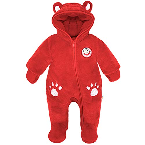 Newborn Baby Hooded Romper Fleece Snowsuit Bear Jumpsuit Long Sleeve Fall Winter Outfit, Blue 0-3 Months