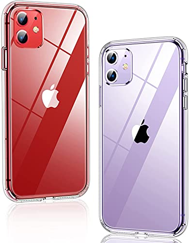 Humixx für iPhone 11 Hülle Transparent [Real 5.0 Military Grade Stoßfest] [13X Anti-Gelb] Ultra Dünn Kratzfest iPhone 11 Case Hard PC Back mit Soft Silikon Bumper Handyhülle für iPhone 11(6.1 Zoll)