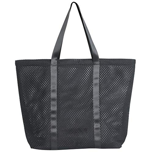 YS·AU Women Mesh Tote Purse Handbag,Fashion Beach Bag for Travel Lightweight Market Shopping Bags Eco Friendly Gift Duty Bag Black