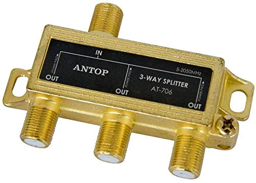 ANTOP 3 Way Antenna Coaxial Splitter ,TV Signal Splitter 2GHz- 5-2050MHz - Low-Loss RF Splitter for TV and Satellite - 18K Gold-Plated Chassis - All Port DC Power Passing