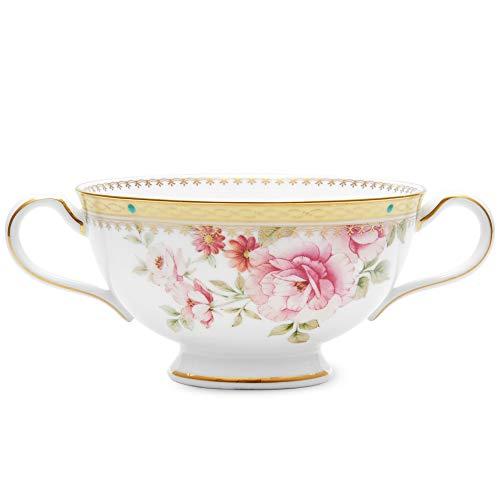 Noritake Hertford Bowl, Cream Soup Cup, 8 1/2 oz in Blue/Green/Pink