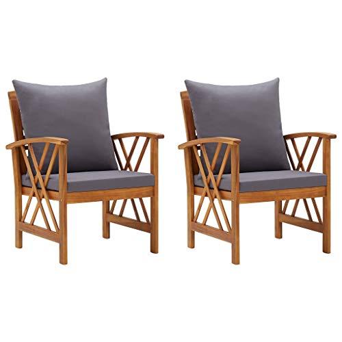Gartenstühle mit Kissen 2 Stk. Akazie Massivholz