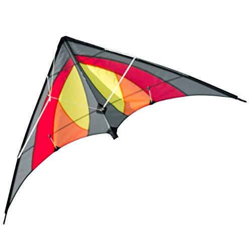 CIM - Cometa acrobática - SHURIKEN Red Desert MUSTHAVE - Cometa para niños de a partir de 8 años - 120 x 60 cm - incl. cuerdas de dirección en bobinas - Cometa para principiantes