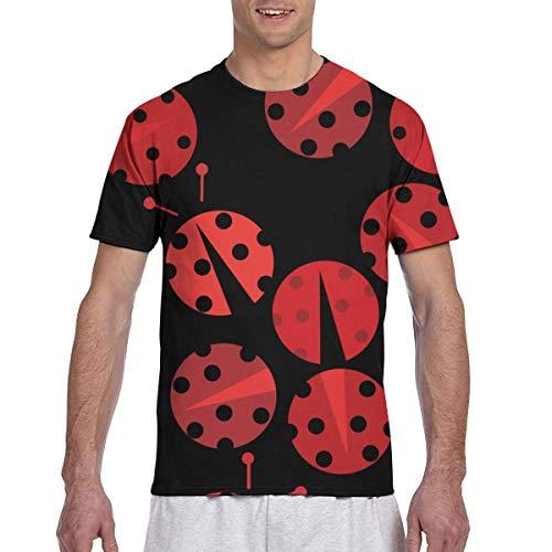 MASKMAN Camiseta de Manga Corta para Hombre Ladybug Tees Sport(XXL,Negro)