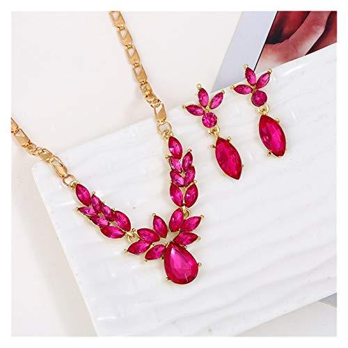 DSJTCH Traje de joyería Americana lujosos gotitas de Diamantes Coloridas Collares Conjunto de Accesorios de Vestido (Color : A)