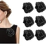 RHwedding 6 broches para boda, hechos a mano, flores artificiales, corpiño, boda, novio, con clip para bodas, bailes de graduación (blanco)