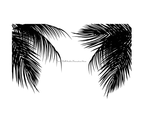 Calcomanía de pared de palma silueta de hoja de palma cartel de casa de vacaciones junto al mar 55x90cm