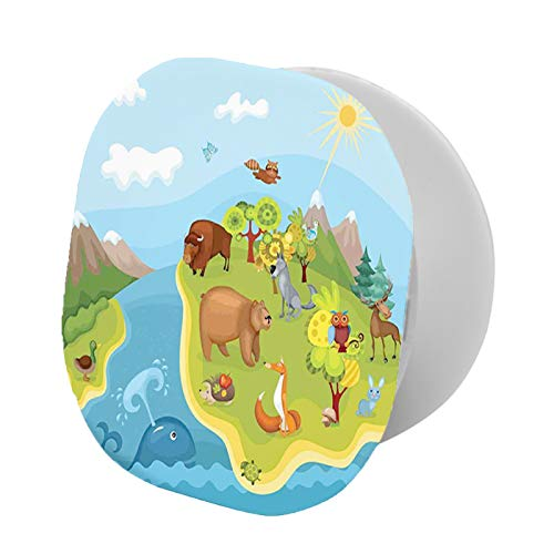 Soporte plegable para teléfono celular, diseño de planeta con animales alegres de todo tipo, montañas nevadas y cielo azul soleado, soporte ajustable para teléfono móvil