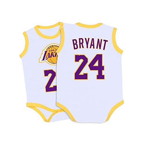 Camiseta de bebé Warriors Lakers James Romper sin Mangas Chaleco de una Pieza,White+Yellow-1,59CM