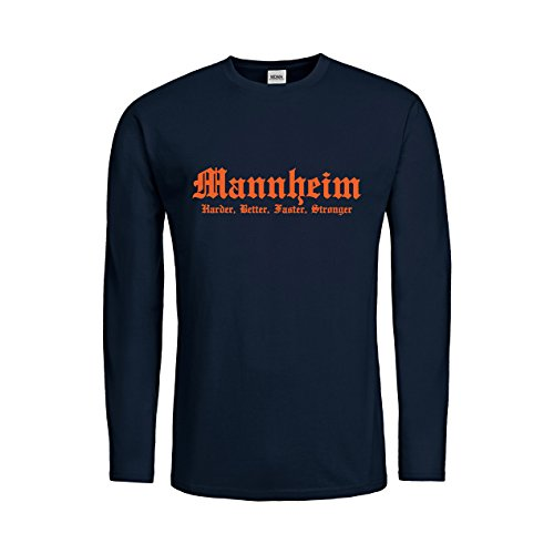 MDMA Kids T-Shirt Longsleeve Mannheim Harder, Better, Faster, Stronger N14-mdma-ktls00326-111 Textil navy / Motiv orange Gr. 128