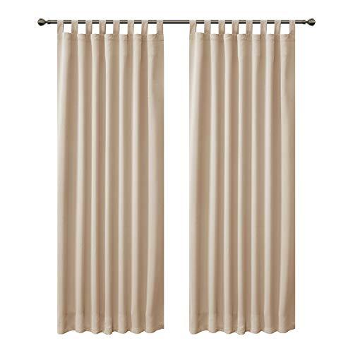 FLOWEROOM Blickdichte Vorhänge Verdunkelungsvorhänge mit Schlaufen für Schlafzimmer, 290x140cm (HxB), Beige - Thermogardine Gardinen/Lichtundurchlässige Vorhang Geräuschreduzierung, 2 Set
