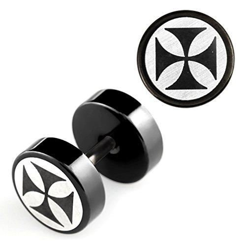 2 Stück Fake Plug Eisernes Kreuz Logo Ohrstecker Black Schwarz Tunnel Ohrring Cap Ø 8mm