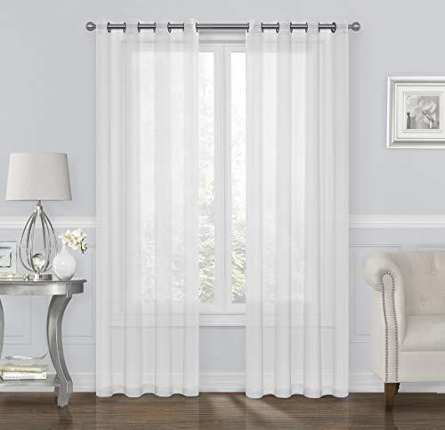 GoodGram 2 Pack Ultra Luxurious High Woven Elegant Sheer Grommet Curtain Panels - Assorted Sizes & Colors (White, 84 in. Long)
