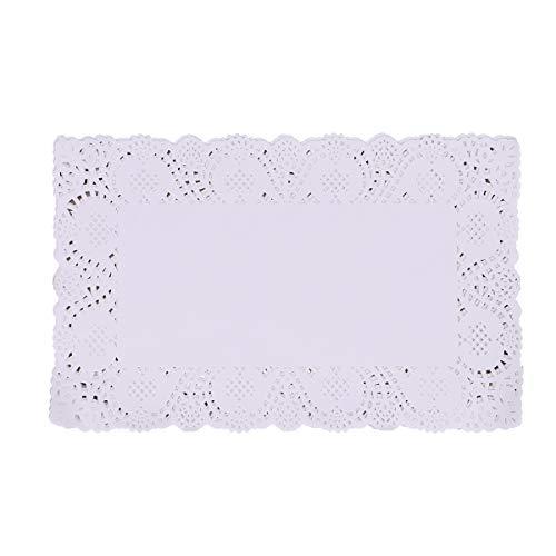 SUPVOX 140pcs centrini di Pizzo Bianco centrini Decorativi tovagliette rettangolari Torte pastiglie 30x19cm