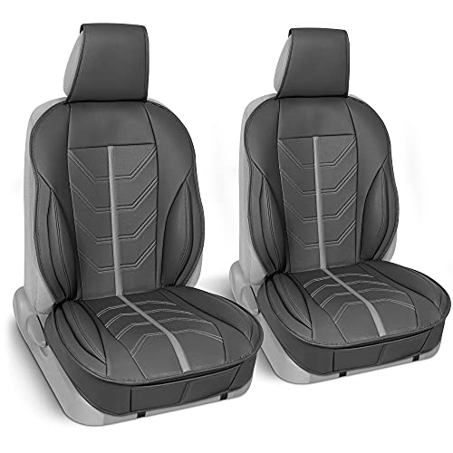 Motor Trend ComfortDrive Deluxe Faux Leather Front Seat Covers for Car Truck Van & SUV, 2 Piece Set Gray – Ergonomic Padded Car Seat Cushions for Front Seats with Pockets, Car Interior Accessories
