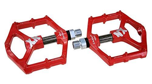 Evetin 1031 - Pedales antideslizantes para bicicleta de montaña (9/16 pulgadas, con base plana de magnesio, tubo de fibra de carbono rojo)