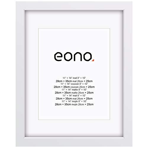 Eono by Amazon - 28x35 cm Bilderrahmen Hergestellt aus Massivholz und Hochauflösendem Glas für Bildformate 20x25 cm mit Passepartout oder 28x35 cm ohne Passepartout Wandhängend Fotorahmen Weiß