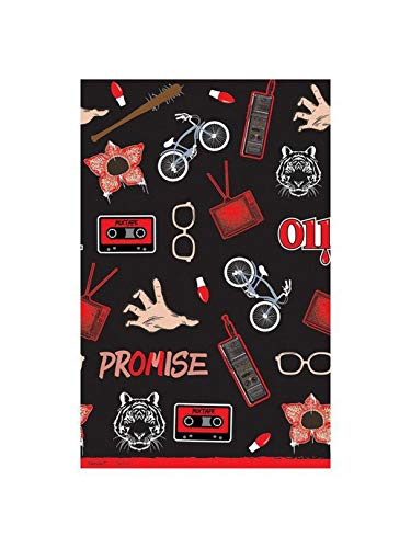 Halloween Stranger Things Black Table Cover, 54' x 102' - 1 Pc.