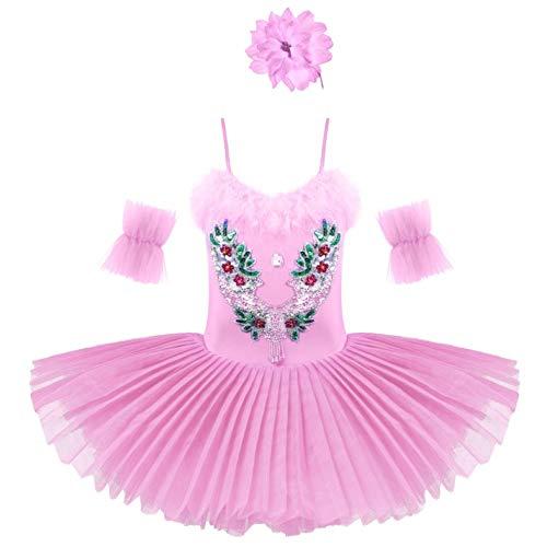 inhzoy Vestido de Tutú con Mangas de Brazo Conjunto de Pinzas de Pelo de Flores de 3 Piezas para Niñas Vestido de Leotardo de Ballet con Cuello en V Lentejuelas de Diamantes