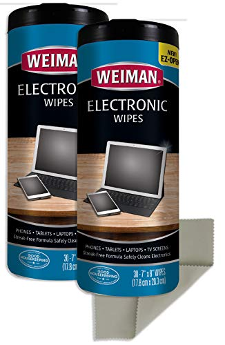 Weiman Electronic Cleaner Wipes - 2 Pack with Polishing Cloth - Non Toxic Safely Clean Your Laptop, Computer, TV, Screen and All Electronic Equipment
