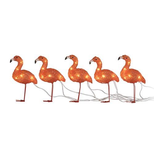 Konstsmide, 6267-803, LED Acryl Flamingos, 5er-Set, 40 bernsteinfarbene Dioden, 24V_Außentrafo, weißes Kabel