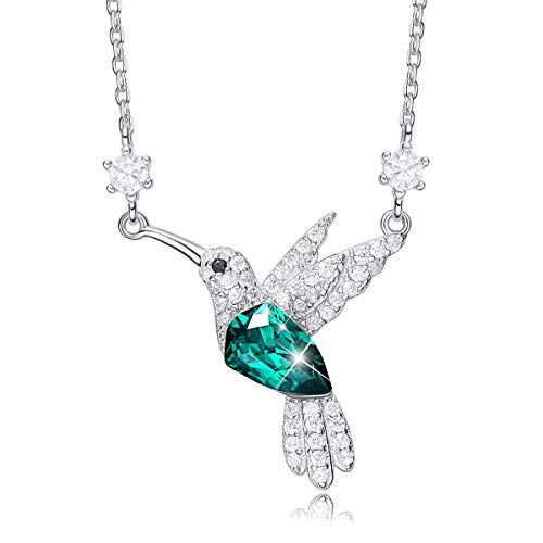 CDE Valentine Galentine Necklace Gifts for Women Hummingbird Necklaces S925 Sterling Silver Necklaces for Women Embellished with Crystals from Austria Jewelry for Women, Animal Necklace Gifts for Girlfriend and Mom