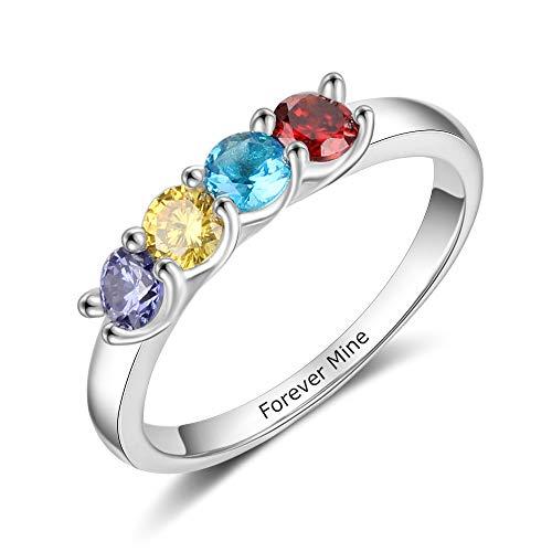 lorajewel Personalisierte Ringe für Mutter mit 2/3/4 Geburtssteine Gravur 925 Sterling Silber Ring Damen Muttertagsringe Angepasste Familienringe Jubiläumsringe...