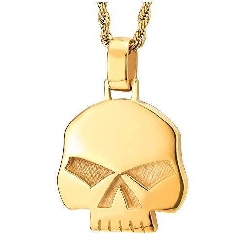 COOLSTEELANDBEYOND Color Oro Punisher Cráneo Collar, Colgante de Hombre, Acero, Biker, 75cm Cadena de Trigo, Estilo Gótico