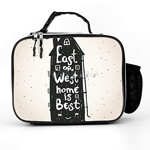 East Or West Home Is Best Inspirational Quote Lunch Bags Insulated Reusable Lunch Boxes Lunch Tote Bag for Women Men Adults Kids for School Work Picnic
